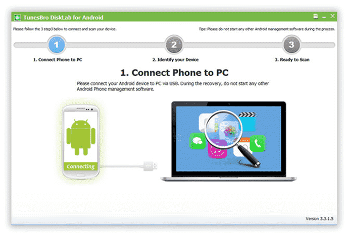 How to Recover Lost Text Messages from Android using TunesBro DiskLab 1