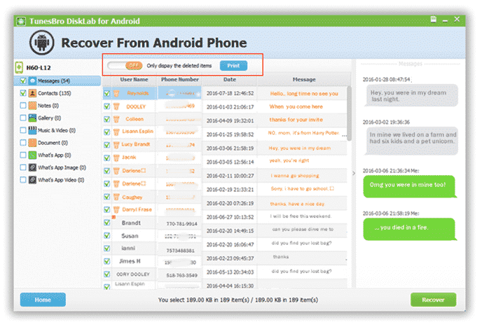How to Recover Lost Text Messages from Android using TunesBro DiskLab 4