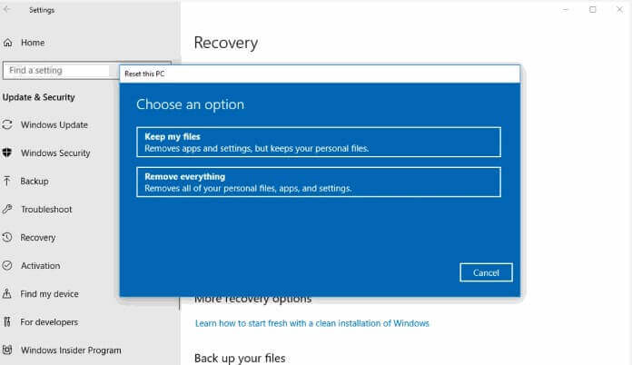 How to Factory Reset Windows 10 4