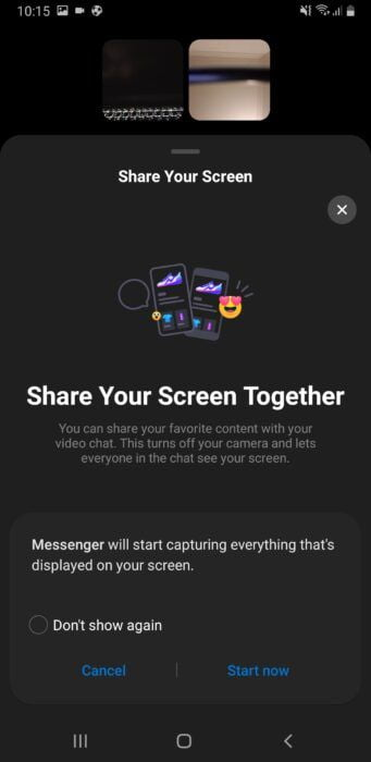 How to Share Screen on Facebook Messenger Mobile 2