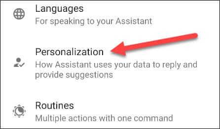Google assistant setting